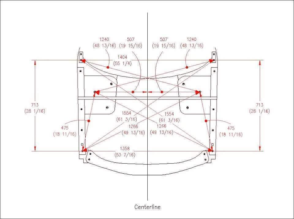 Схема контрольных точек и углов геометрии кузова автомобиля