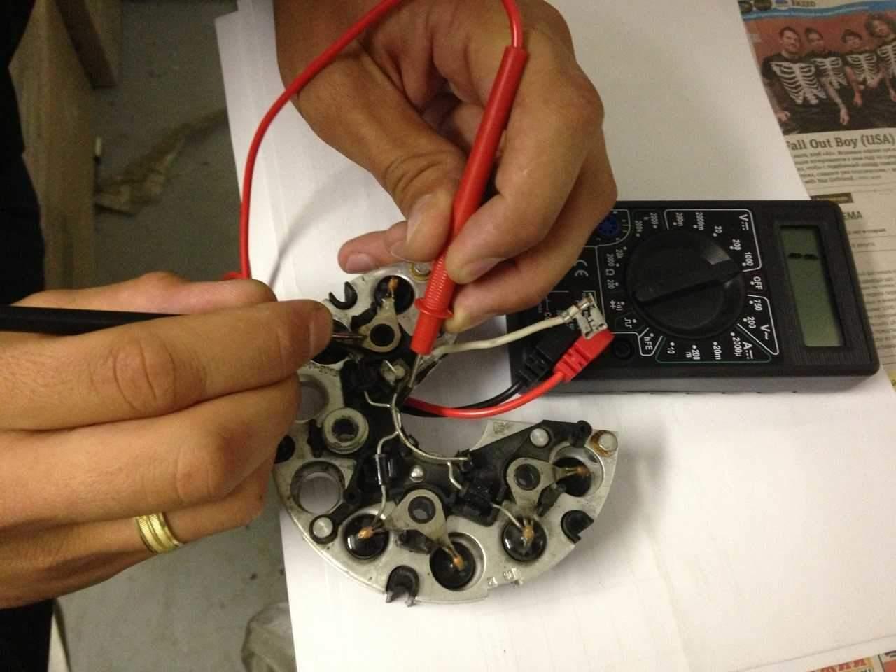 Прозвонка диодного моста генератора мультиметром